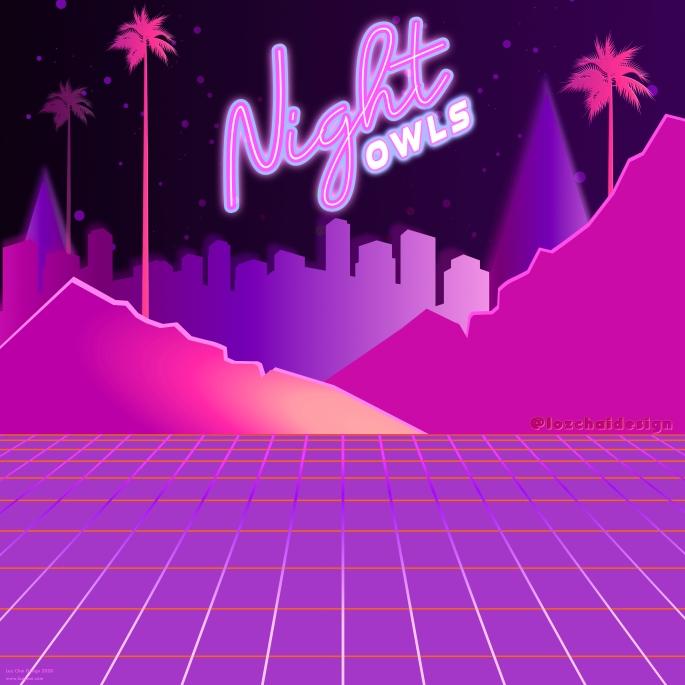 night owls retro synth wave design Loz Chai